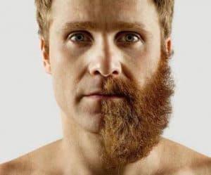 hombre con media barba