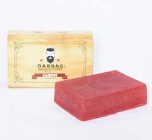 jabón para barba rojo