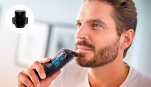 hombre con una recortadora de barba philips