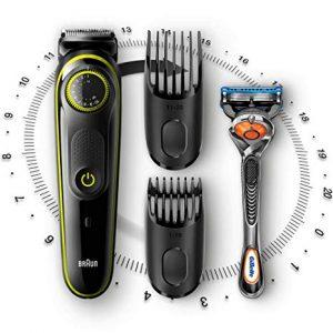recortadora de barba braun moderna y accesorios