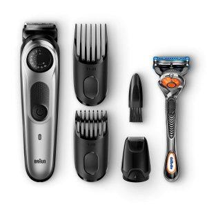 recortadora de barba braun con accesorios