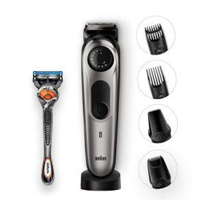 recortadora de barba braun y accesorios