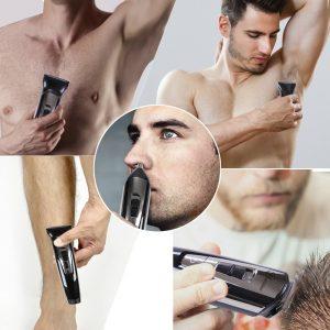 personas usando cortapelos multifunción