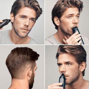 hombre usando una cortapelos Braun