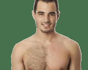 hombre mitad depilado